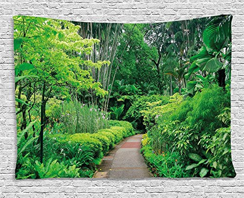 - XHFITCLtd Forest Tapestry, Green Plants Trees in Singapore Asia Botanic Gardens Walkway Travel Destination Arboretum, Wall Hanging for Bedroom Living Room Dorm, 60WX40L Inches, Green