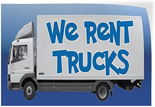 Decal Sticker Multiple Sizes We Rent Trucks Auto Car Vehicle Business We Rent Trucks Outdoor Store Sign White Set of 10 14inx10in