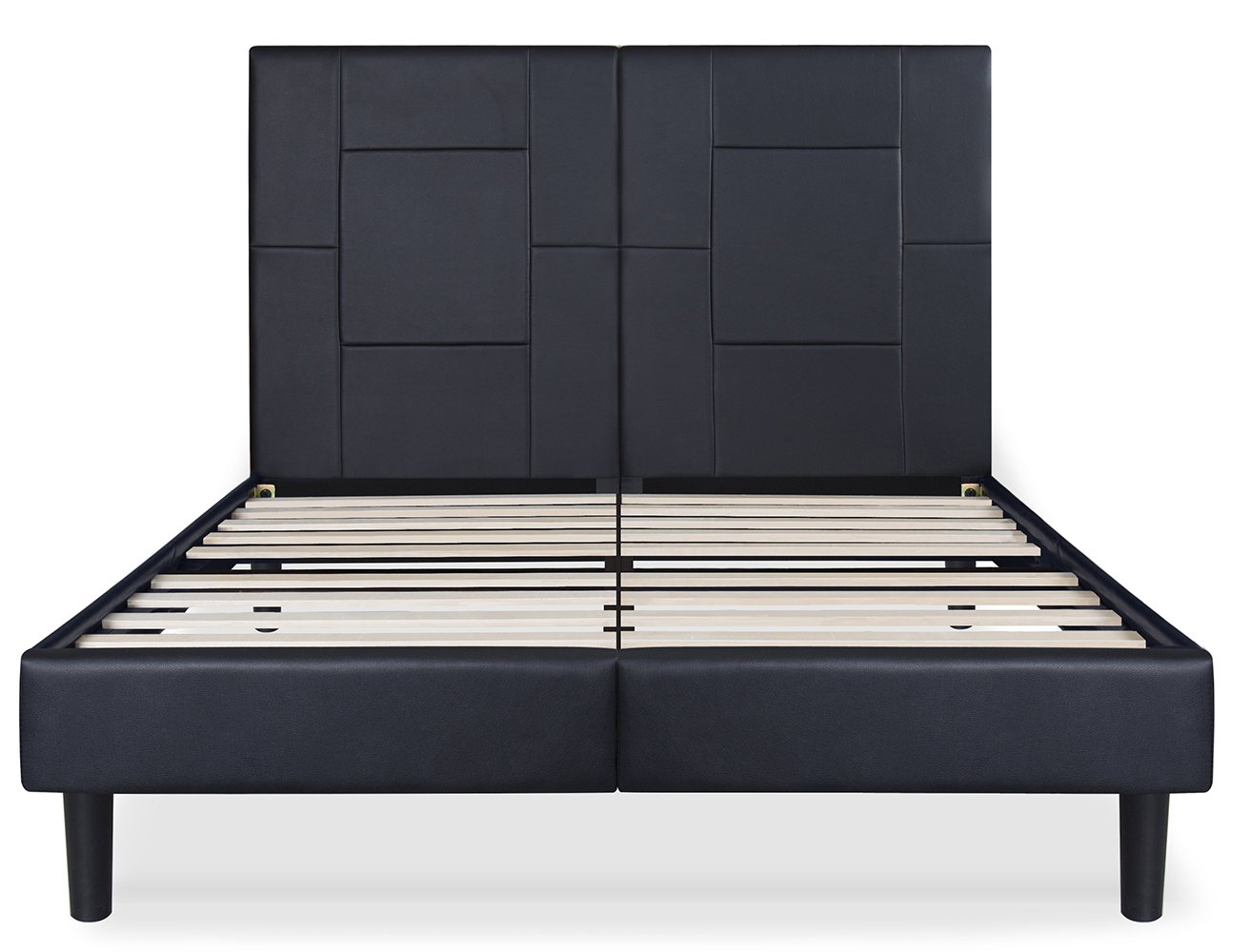 amazoncom sleeplace 14 inch dura metal faux leather wood folding full platform bed frame black pb6000 full kitchen u0026 dining