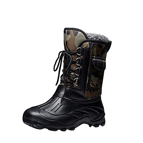 Hommes Pêche Bottes Pluie Bottes Imperméable à l'eau Anti-dérapant Pluie Chaussures , black , 44