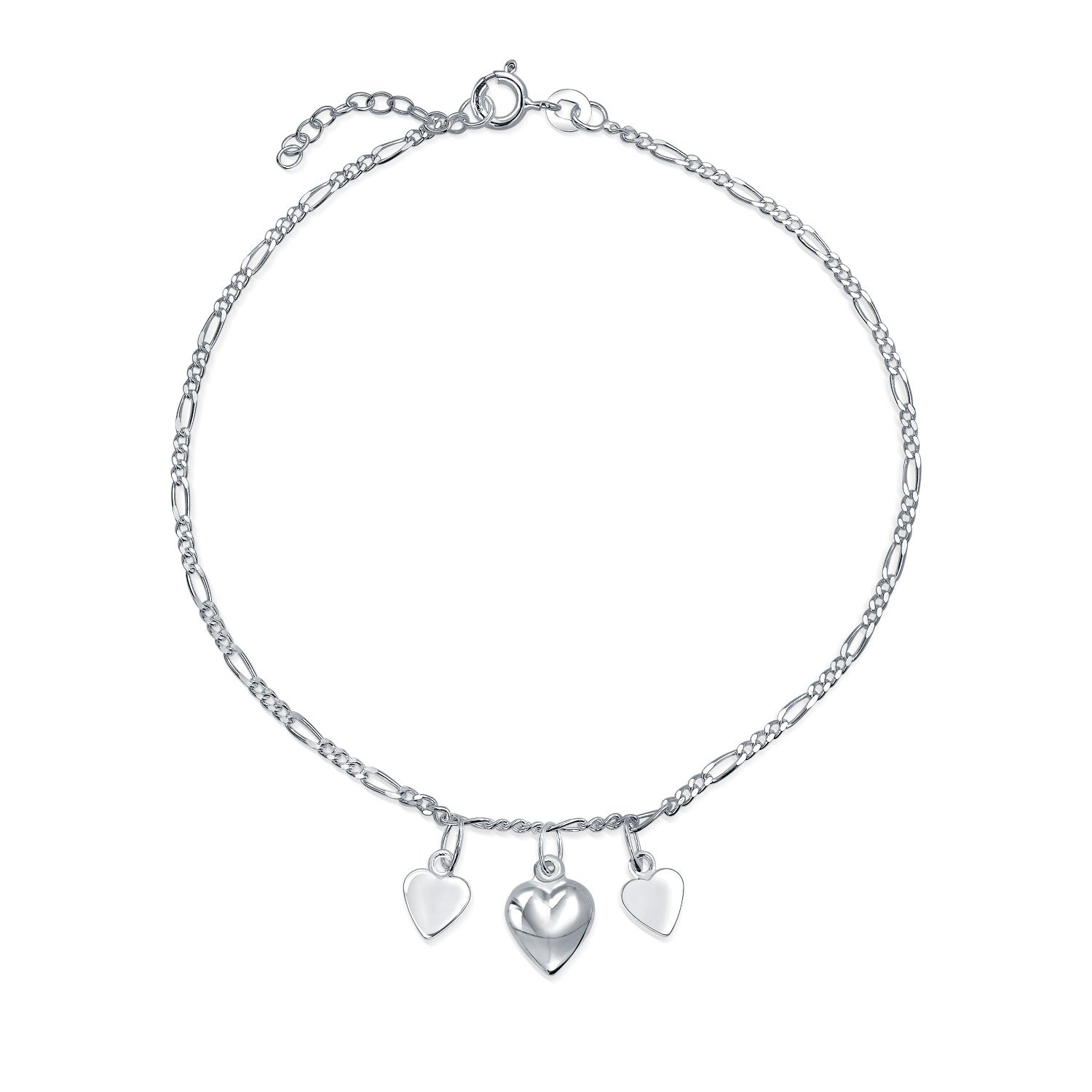 Bling Jewelry 925 Silver Heart Ankle Bracelet Adjustable Anklet 9in APPL-JA-121240