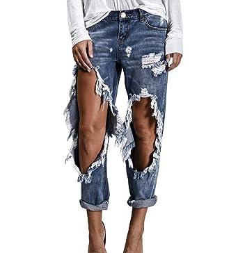 6570f9be891cd1 Damen Distressed Hosen Boyfriend Denim Jeans mit Großen Löchern .