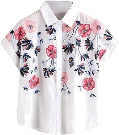 Camisa Bordada Suelta de Manga Corta con Cuello Alto, Color Blanco: Amazon.es: Ropa y accesorios