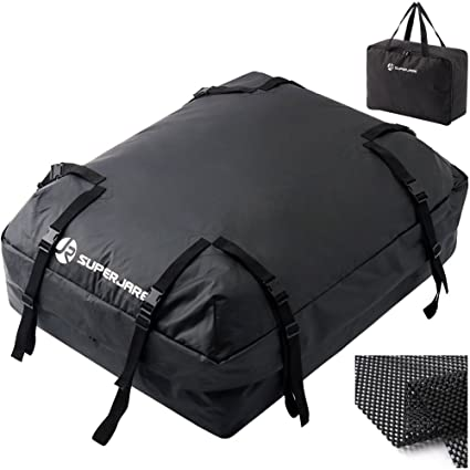4d43be257398 SUPERJARE Cargo Bag with Protective Mat, Car Top Carrier for Roof Racks,  Waterproof Luggage Travel Storage, Extra Storage Bag, 15 Cubic Feet - Black