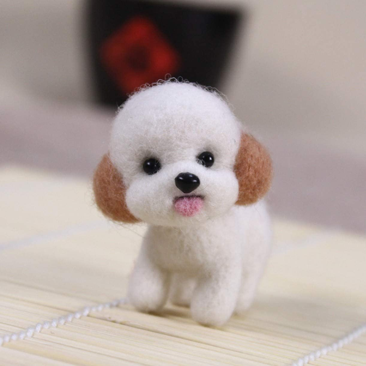 WellieSTR Craft Handmade Lovely Dog Toy Doll Wool Felt Poked Kitting DIY Cute Animal Wool Felting Kit Non-Finished