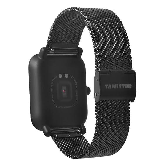 Para Xiaomi amazfit bip Youth Watch, cooljun banda de reloj de repuesto en acero inoxidable