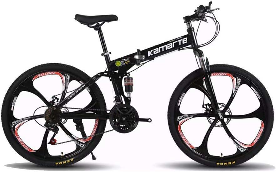 MarvBike-Mountain Bike,Bicicleta de monta/ña Plegable 24,26 Pulgadas,Todoterreno para Adultos de velocidades 21,24,27 con neum/áticos Resistentes y Frenos de Doble Disco,con 3 Rueda de Corte,Negra