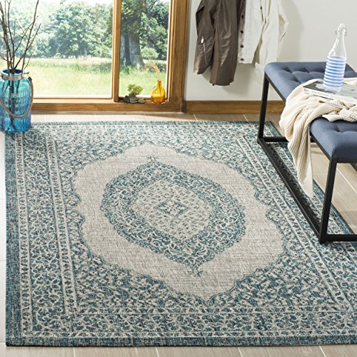 Safavieh Courtyard Collection CY8751-37212 Light Grey and Te