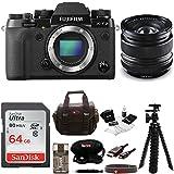 Fujifilm X-T2 Mirrorless Digital Camera (Body Only) w/14mm F2.8 R Lens + Focus 64GB Gadget Bag