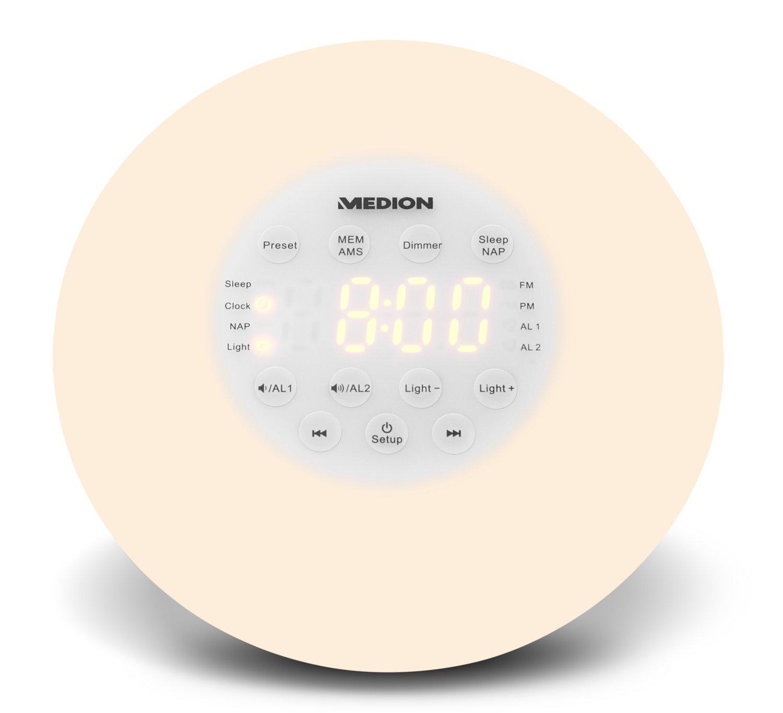 MEDION Life P66080 MD 43608 Wake-up Light Lichtwecker mit Wohlfühlatmosphäre, PLL UKW Radio, Natürliches Erwachen, Simuliert Sonnenaufgang, Ansteigender Alarmtom, weiß 50057024