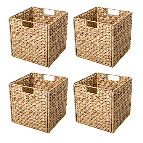 Trademark Innovations Foldable Hyacinth Storage Baskets with Iron Wire Frame (Set of - D Metal Square Frame