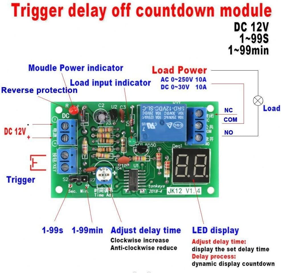 DC12V LED Display Countdown Timing Timer Delay Turn OFF Relay ...