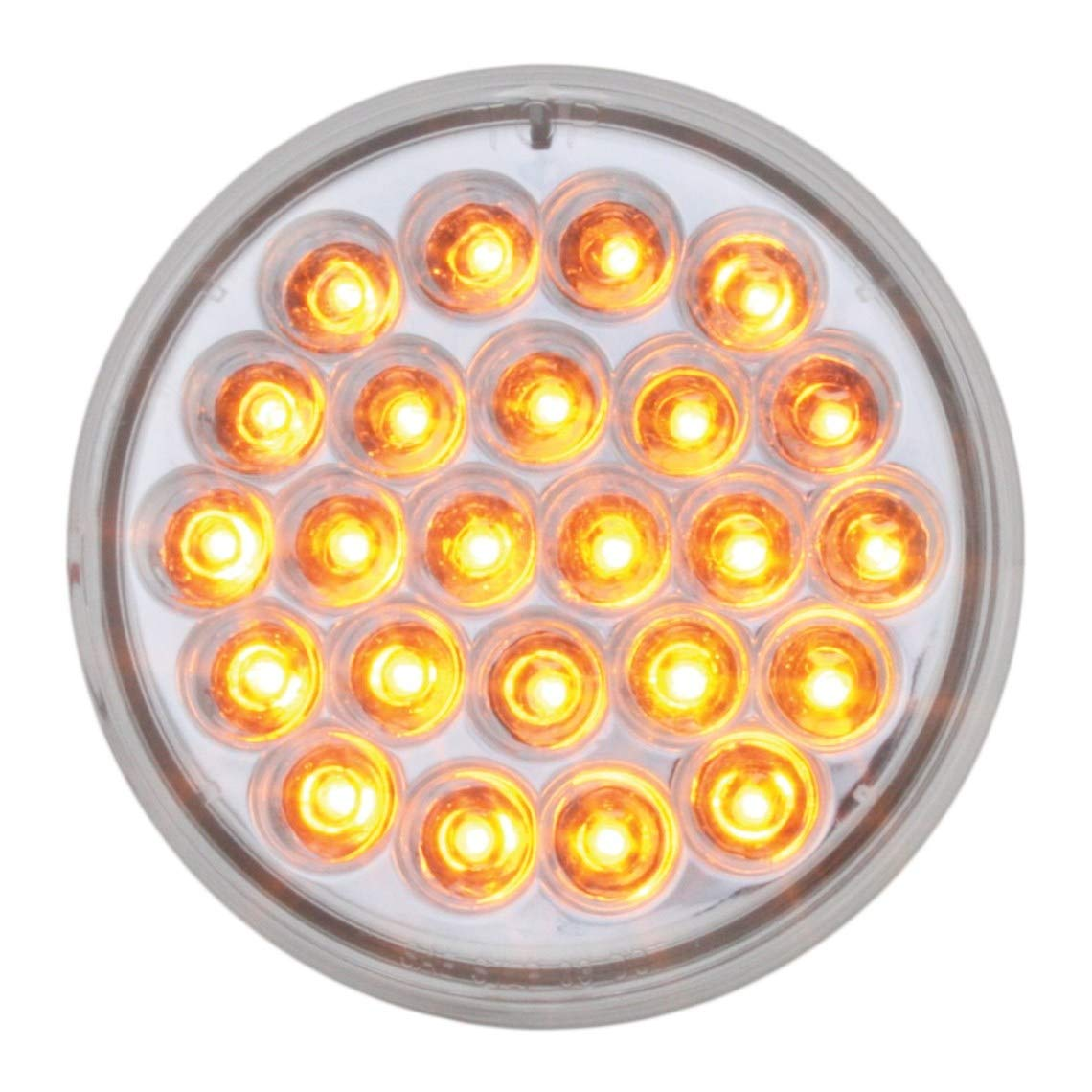 GG Grand General 89213 Black Painted L Bracket with 2-4 inches Pearl Amber//Clear LED Light and Chrome Plastic Rim with Visor