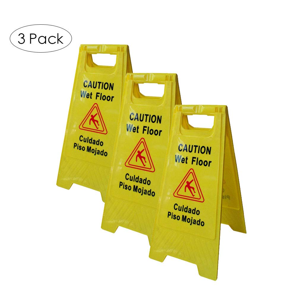 LTF Wet Floor Sign Safety Warning Caution Board with English and Spanish Language Floor Stand Caution Board for Tumble and Slipery Prevention, Pack of 3 by LTF