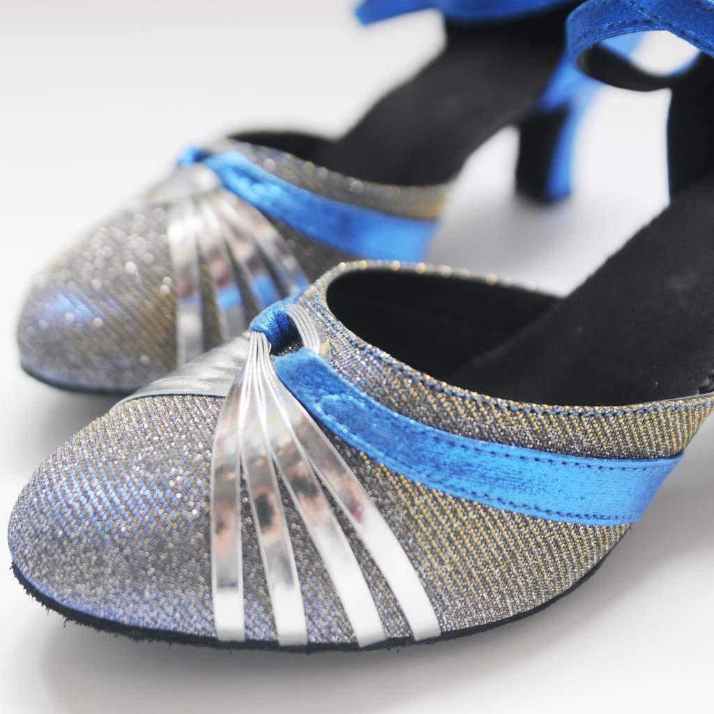 Women Dance Shoes Glitter Girls Round Toe Latin Salsa Dance Shoes Ballroom Waltz Dance Shoes Ankle Strap Spike Heel Buckle Dancing Shoes for Women /& Girls