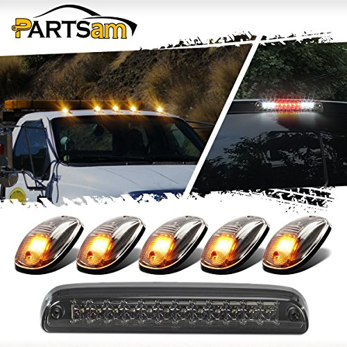 Partsam Red/White Tail Rear High Mount 3rd Third Brake Light Cargo Lamp+5pcs Amber LED Cab Roof Top Marker Lamps Clearance Running Lights Assembly for Ford Super Duty Pickup - Tips 350 Clear Lights
