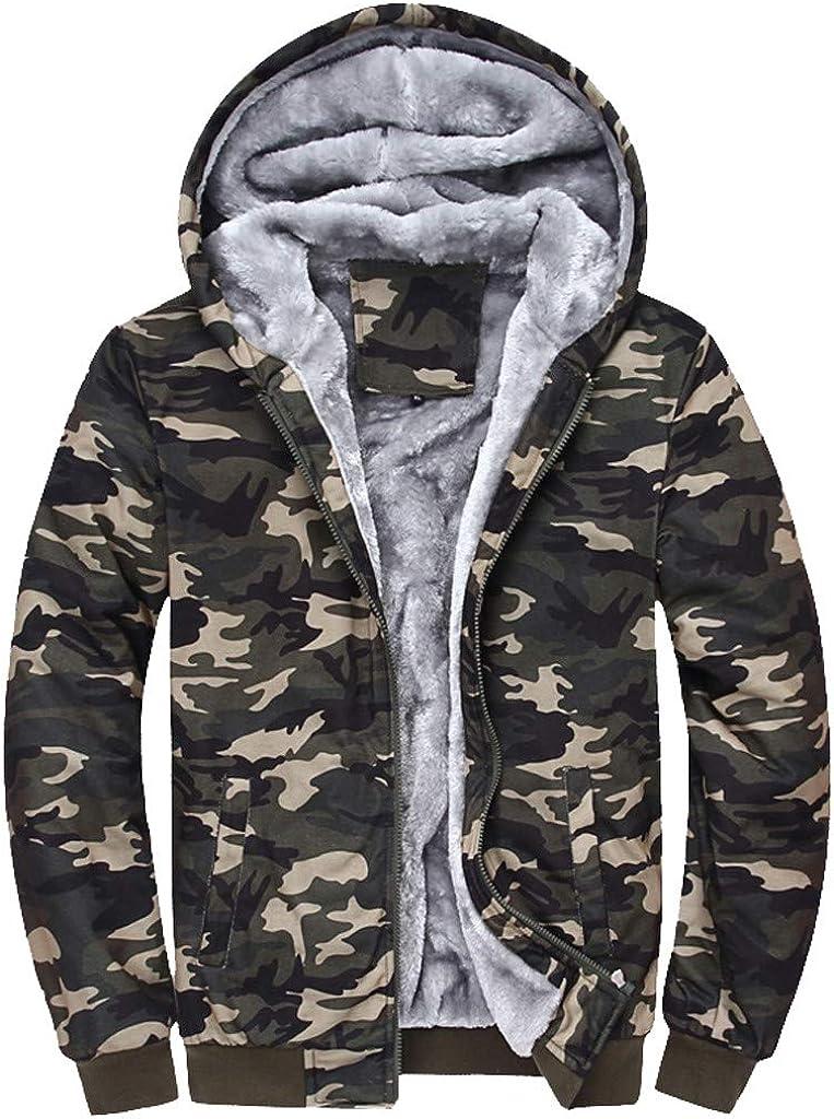 Allywit Mens Autumn Winter Warm Camouflage Fleece Sweatshirt Top Pants Sets Sports Suit Tracksuit
