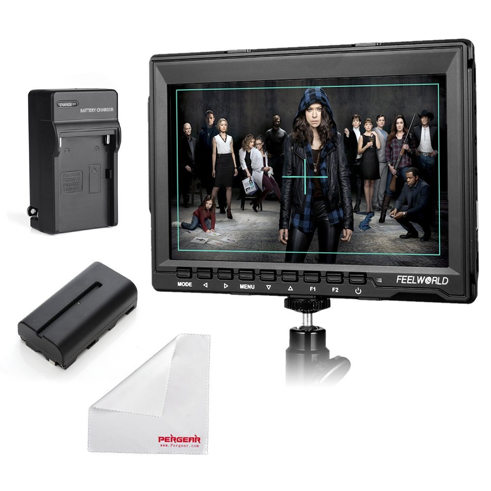 Feelworld FW759 7 Inch IPS On-Camera Field Monitor with 2200mAh Battery Kit, Sunshade, Mini HDMI Cable and Pergear Clean Cloth for for BMPCC 5D2 5D3 7D 60D 550D D7000 D800 D90 A7S FS7 GH4 4332296875