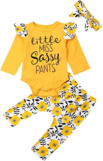 Newborn Baby Girl Clothes Ruffle Sleeve Top Long Pants Infant Outfits Suit Play Wear Sunsuit Cute