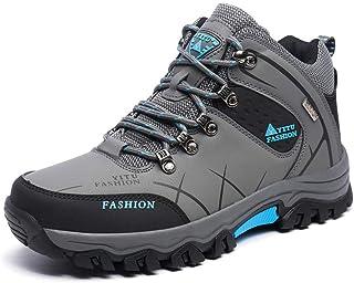 Männer Stiefel Anti-Rutsch Winter Schuhe Männer Plüsch Warme Winterstiefel Männer Wanderschuhe Rutschfeste (Farbe : Gray High, Größe : 9=44 EU)