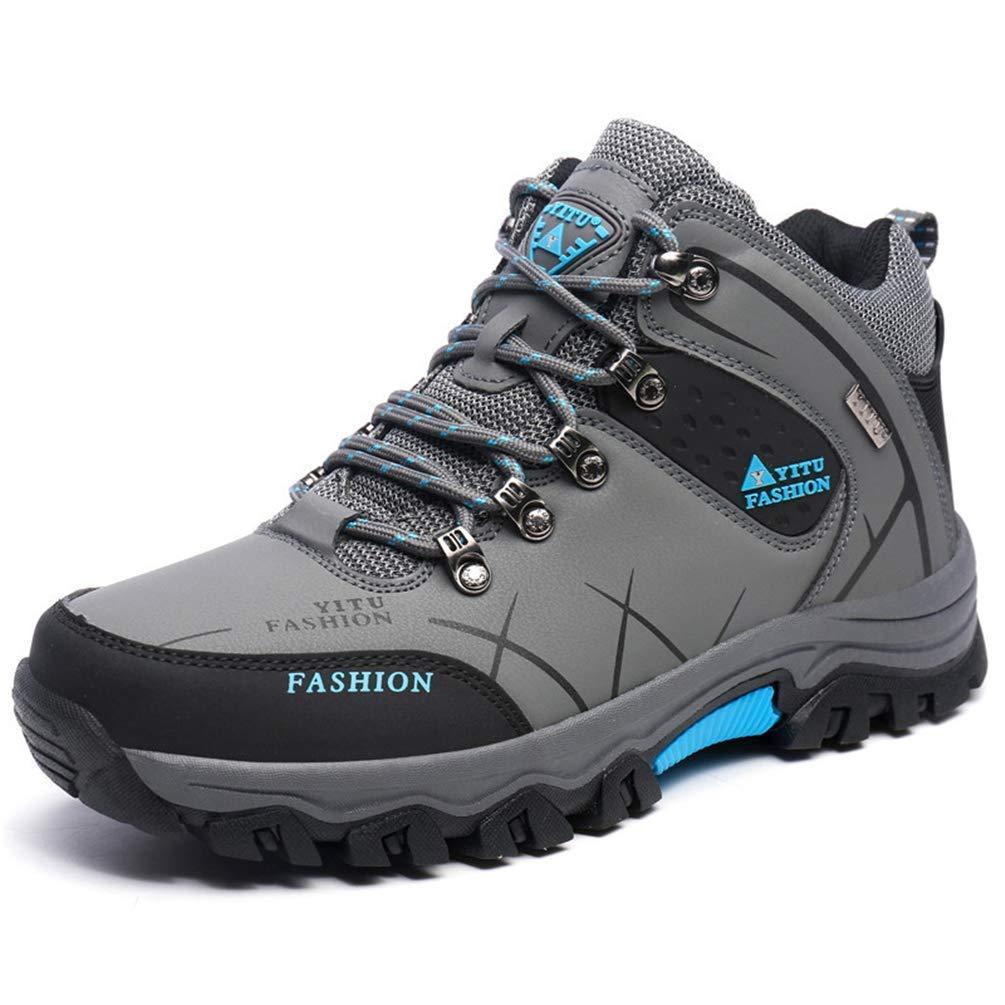 ZHRUI Männer Stiefel Anti-Rutsch Winter Schuhe Männer Plüsch Warme Winterstiefel Männer Wanderschuhe Rutschfeste (Farbe   grau High, Größe   7=40 EU)