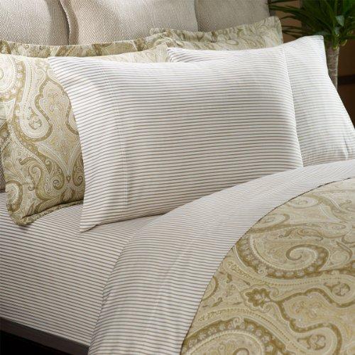 - Ralph Lauren Desert Spa Bengal Stripe Queen Flat Sheet, Tan/White