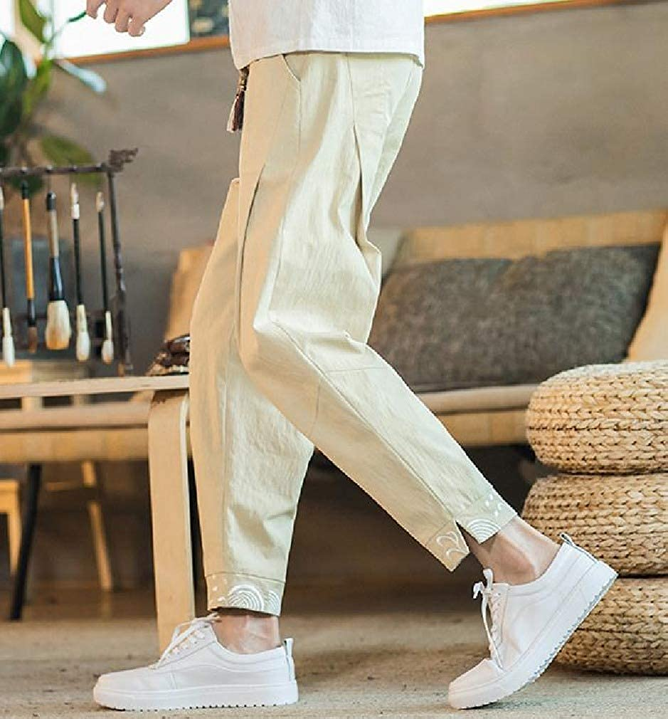 Mfasica Mens Fitted Lace-up Vintage Chinese Style Cotton Linen Mid Waist Casual Trousers