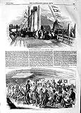 Print 1854 King Denmark Peto Dining Cygnus War Ship Windmill 465P125