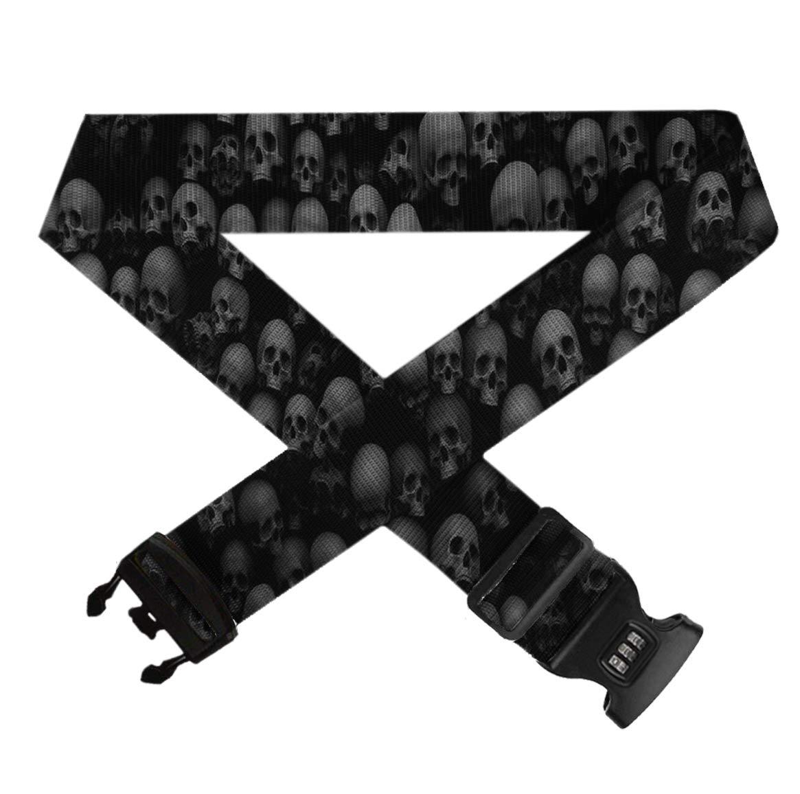 1 Pack Suitcase Belt Adjustable Luggage Strap TSA 3-dial Combination Lock GLORY ART Black Skull Head Travel Luggage Straps