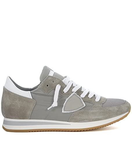 48ea8220cd1f Philippe Model Men s Tropez Basic Grey Suede and Fabric Sneaker 42 ...