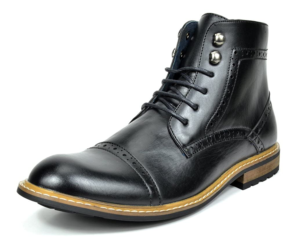 Mens 1920s Shoes History and Buying Guide Bruno MARC BERGEN-03 Mens Formal Classic Cap Toe Lace Up Perforated Leather Lined Ankle Oxford Dress Boots $39.99 AT vintagedancer.com