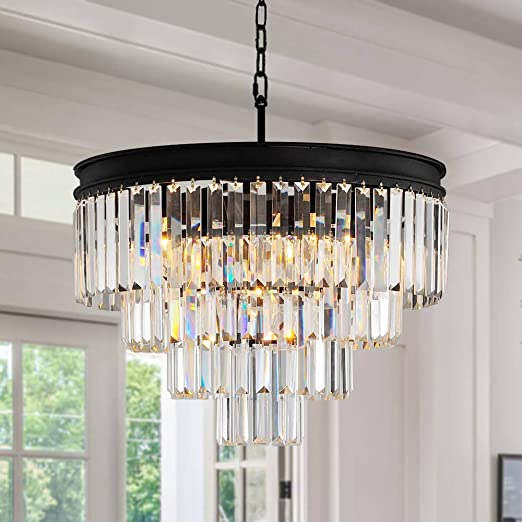 ANTILISHA Crystal Chandelier Lighting Pendant Ceiling Modern Chandeliers  Light Fixture for Dining Rooms Entryway Living Room Fringe Raindrop Round  ...