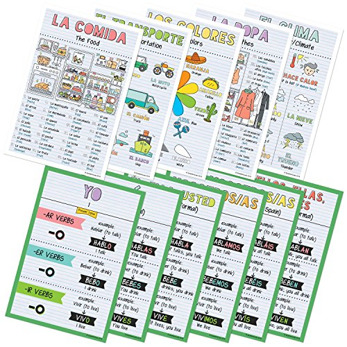 Teacher Classroom Material - Spanish Verbs & Beginner Vocabulary Classroom Variety Posters, Set of 11, 12 x 18 inches (Set A)