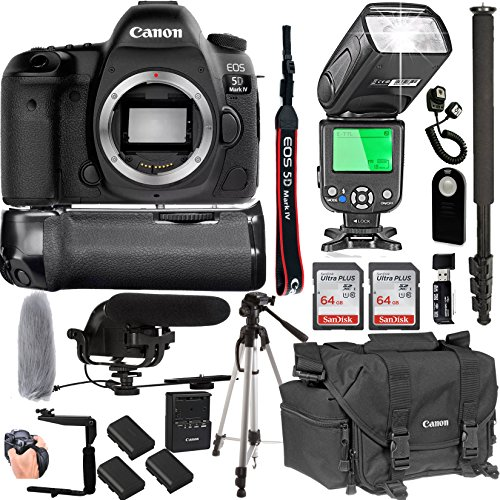 Canon EOS 5D Mark IV Body Only + 128GB Memory + Canon Deluxe Camera Bag + Pro Battery Bundle + Power Grip + Microphone + TTL Speed Light (20pc Bundle)