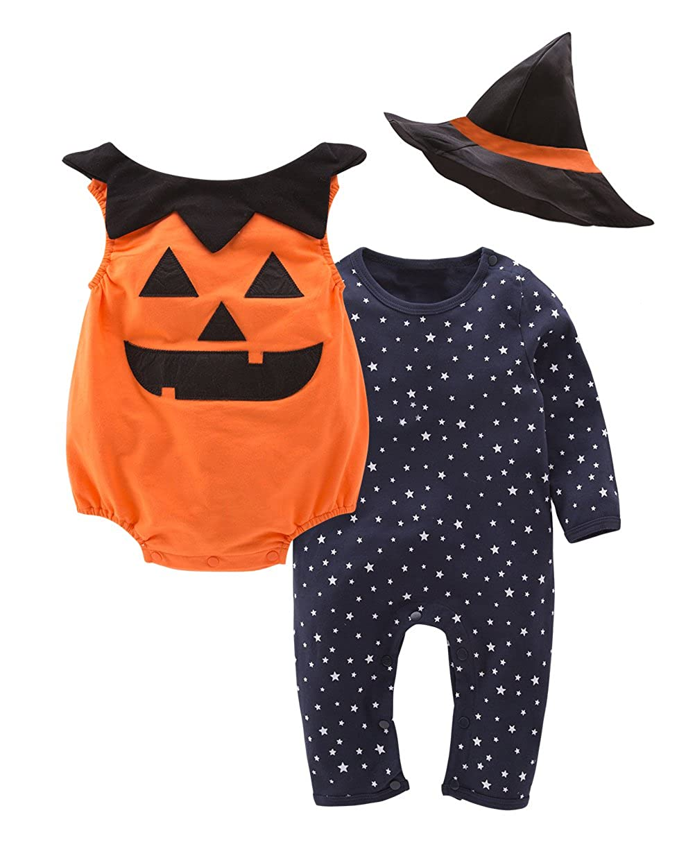 May's Baby Boys Girls Halloween Bodysuits Pumpkin Pants Hat Outfits 3pcs Set