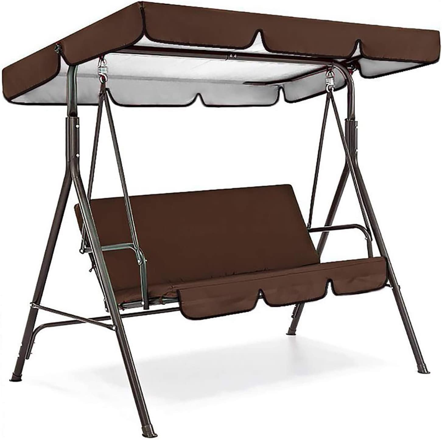 Outdoor Patio Swing Canopy Replacement Top Cover & Cushions, Replacement Cover and Chair Cover for Swing Canopy, Waterproof UV Protection Swing Top Cover, Garden Seater Sun Shade Treasures (Brown)