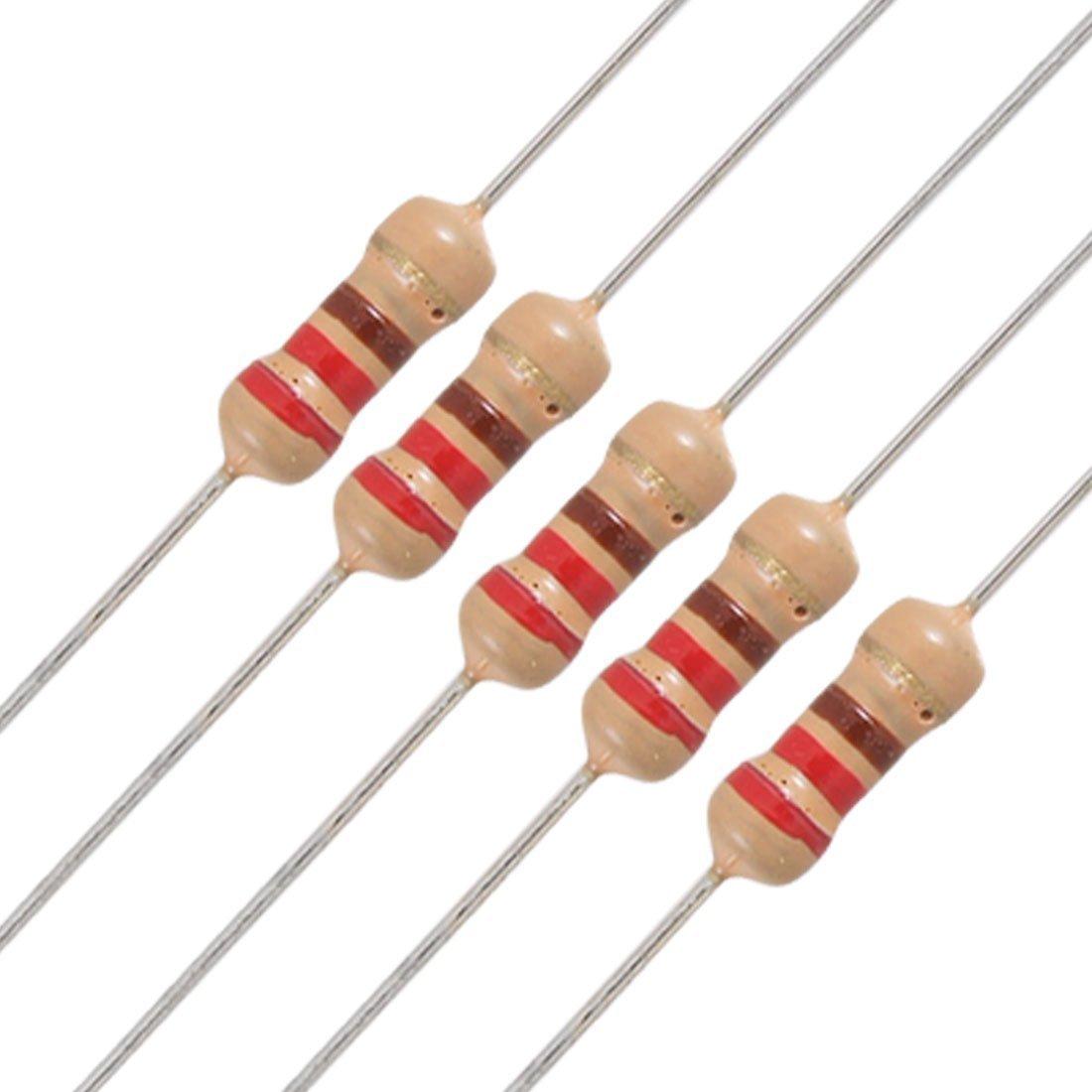 Tiamu 50x Resistor de pelicula de carbono de agujero pasante 220 Ohm 1//4W 5/%