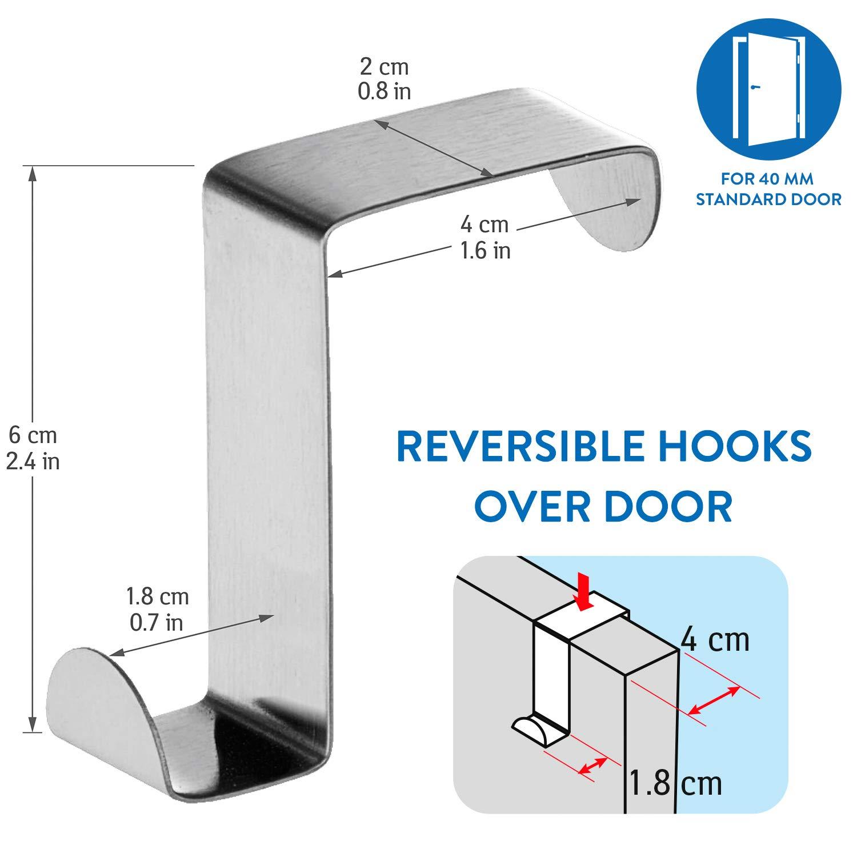 Reversibles para Puertas de Armario o de Habitaci/ón Set de 6 hasta 5 kg Tatkraft Seger Ganchos sobre Puerta Acero Inoxidable Sin Clavos