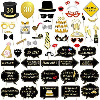 30th Birthday Party Photo Booth Props 52Pcs For Her Him Dirty Thirty