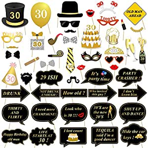 Amazon.com: 30th Birthday Party Photo Booth Props (52Pcs