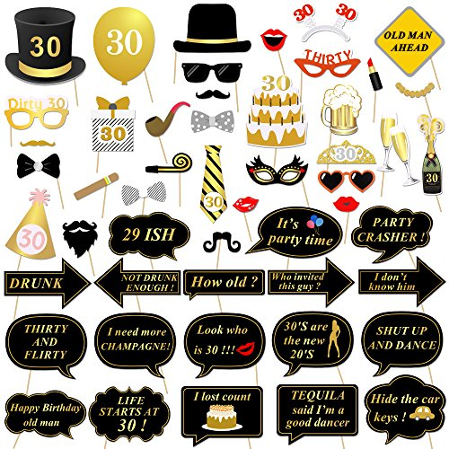 30th Birthday Party Photo Booth Props (52Pcs) for Her Him Dirty Thirty 30th Birthday Gold and Black Decorations, Konsait Big 30 Birthday Party Supplies for Men and Women -
