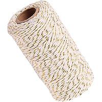 Perfeclan 2 mm binddraad jute koord knutselsnoer pakketsnoer voor doe-het-zelf kunstnijverheid en tuinieren - wit goud
