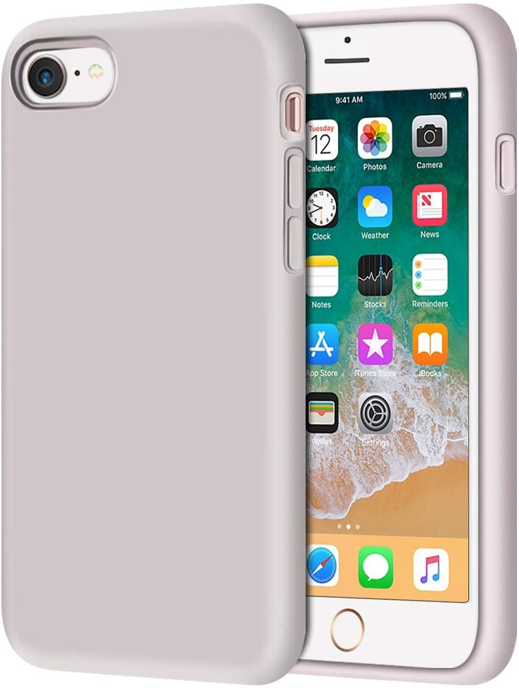 """Anuck iPhone SE 2020 Case, iPhone 8 Case, Non-slip Liquid Silicone Gel Rubber Bumper Case Soft Microfiber Lining Hard Shell Shockproof Full-body Protective Case Cover for iPhone 7/8/SE 4.7"""" - Lavender"""