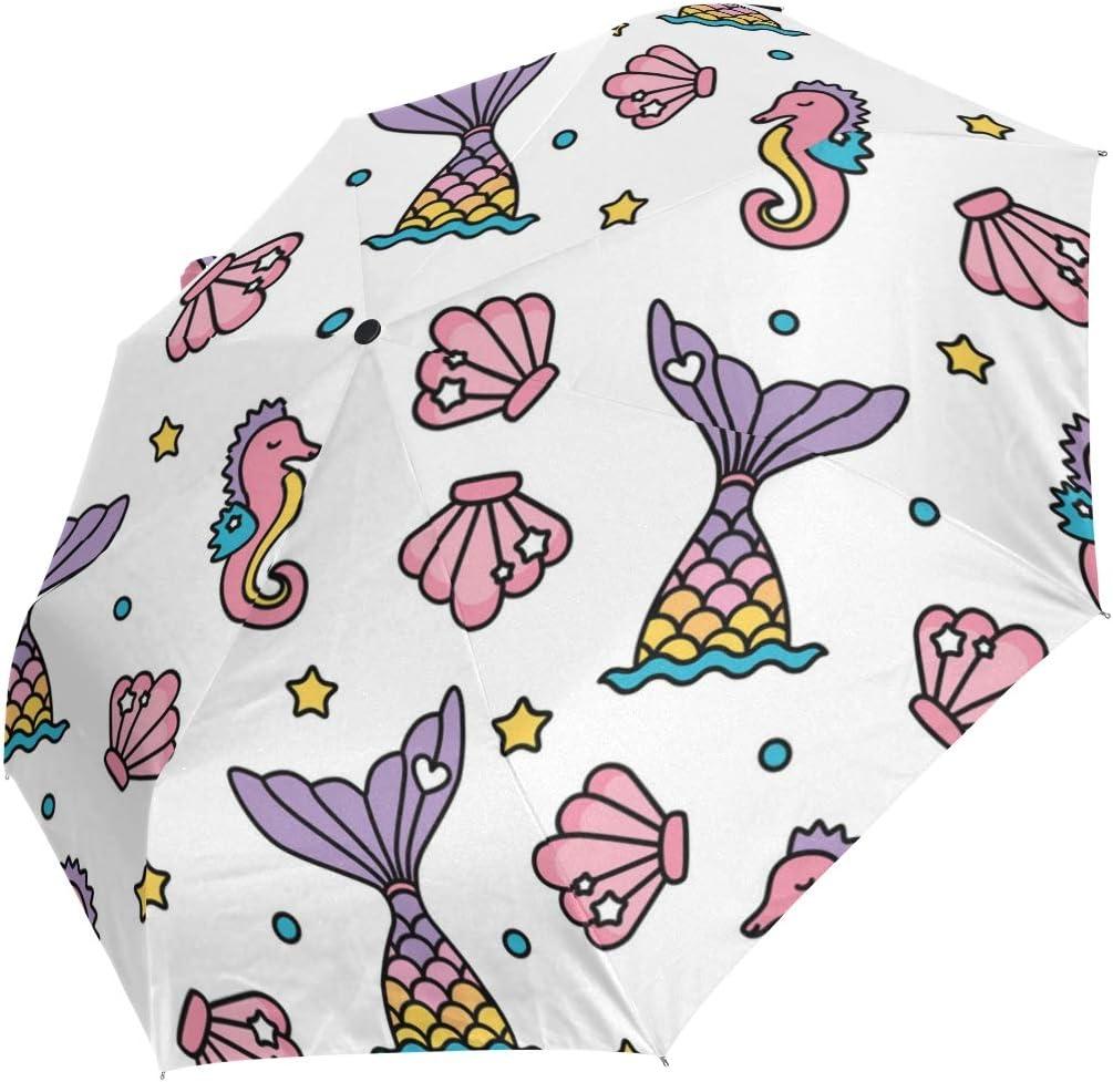 Dream Mermaid Tail And Seahorse fashion print cute Windproof automatic tri-fold umbrella sun UV protection Sun umbrella