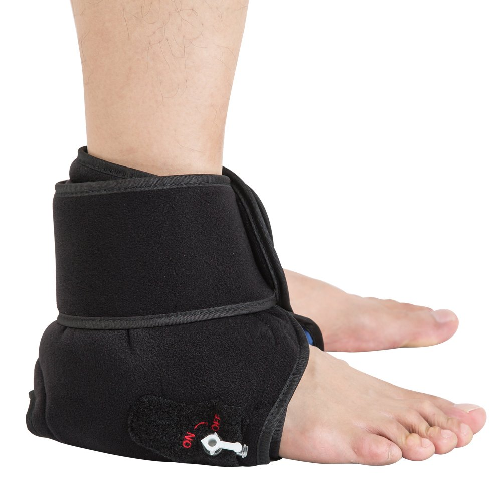 Cold/Hot Therapy Reusable Ankle Support Brace, with Air Pump - Provides Ankle Compression for Achilles Tendon Pain, Foot Sprain & Strain Relief