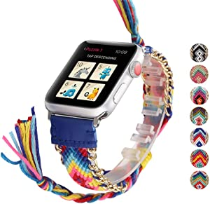 DEALELE Bands Compatible with iWatch 38mm 42mm 40mm 44mm, Colorful Hand-Woven Nylon Leather Strap Replacement for Apple Watch Series 6/5 / 4/3 Women Men (42/44mm, Navy)