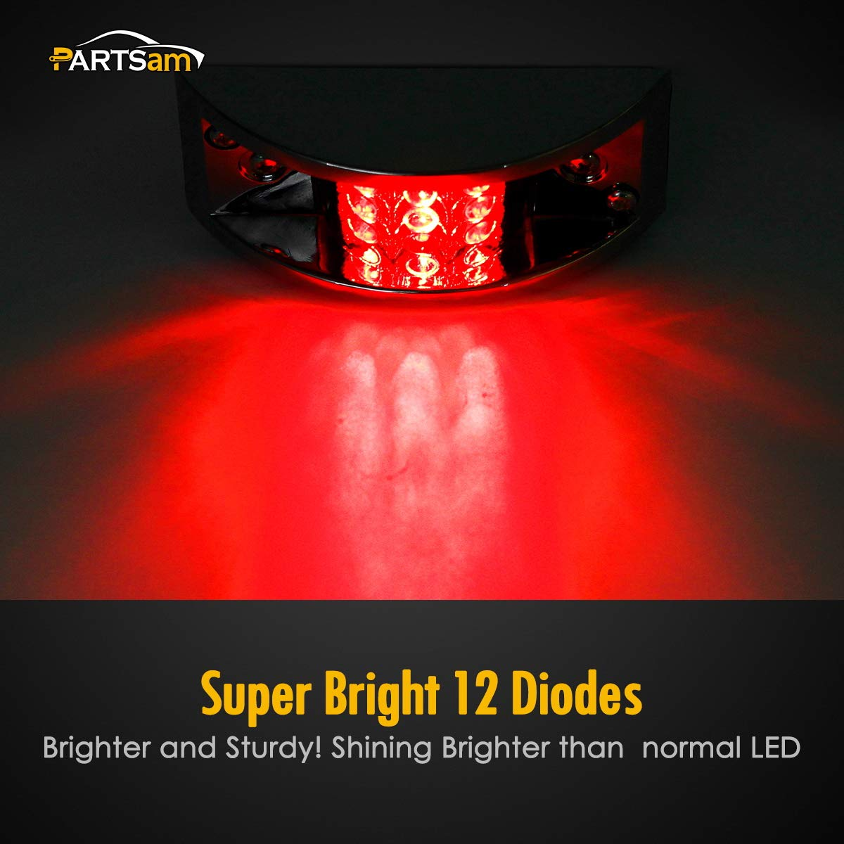 Partsam 4X Red Sealed Chrome Armored LED Trailer Clearance and Side Marker Light 12 LED