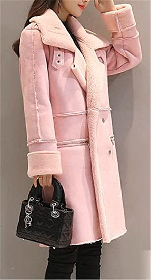 b9a10dee7470 Amazon.com  Fulok Womens Warm Thick Sherpa Lined Slim Double Breasted  Outwear Parkas  Clothing