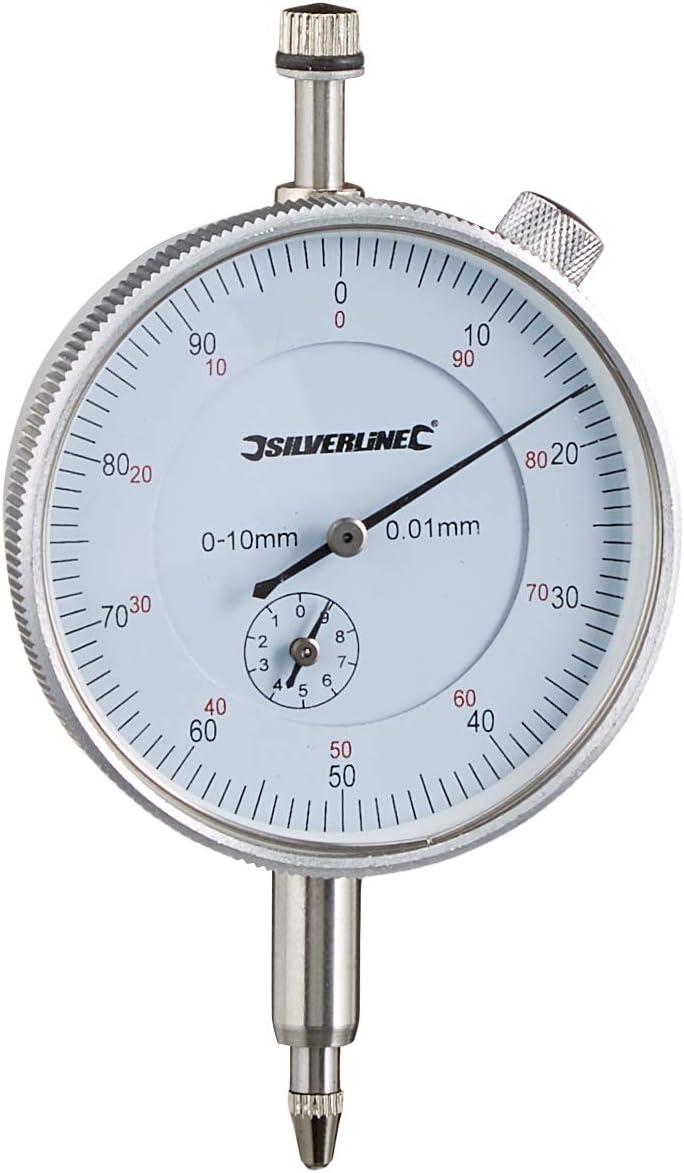 Silverline 196521 - Reloj comparador métrico (0, 10 mm)