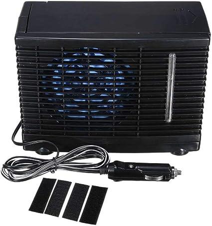 Ventilador Coche Portátil Mini Coche Aire Acondicionado Enfriador de Coche En Casa Ventilador de Enfriamiento Hielo Hielo Evaporativo Aire Acondicionado de Coche Negro: Amazon.es: Coche y moto